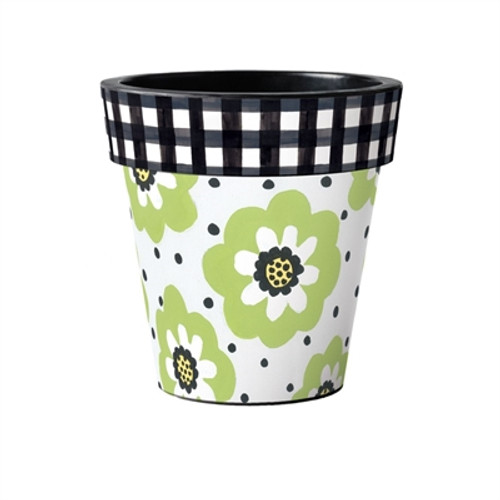 """Polka Dots and Flowers 15"""" Art Planter  ~ Set of 2"""