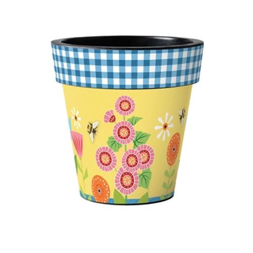 "Garden Bees 15"" Art Planter  ~ Set of 2"