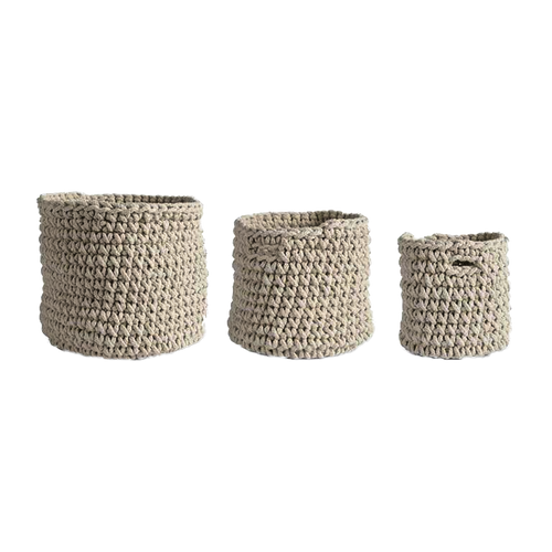 Cream Woven Rope Baskets ~ Set of 3 By K&K Interiors