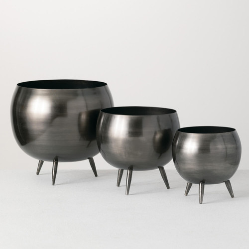 Footed  Metal Planters, Zinc Finish, Set of 3