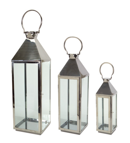 """Melrose Collection"" 34"" Stainless Steel Modern Lanterns Set of 3 ~ Drop Ship Only"