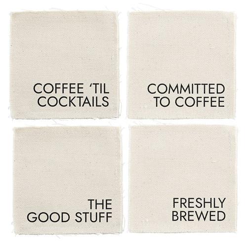 Canvas Coaster Set - Coffee