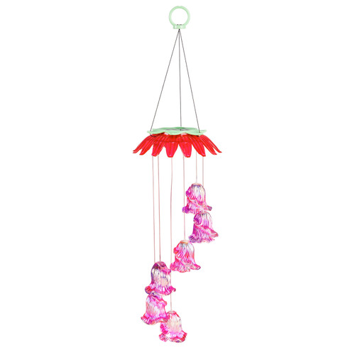 Color Changing Solar Mobile, Glass Pink Flowers by Evergreen