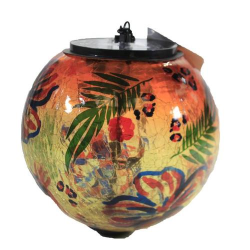 "6"" Solar Crackle Glass Hanging Globe with Botanica by Evergreen (Orange)"