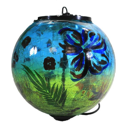 """6"""" Solar Crackle Glass Hanging Globe with Botanica by Evergreen (Blue)"""