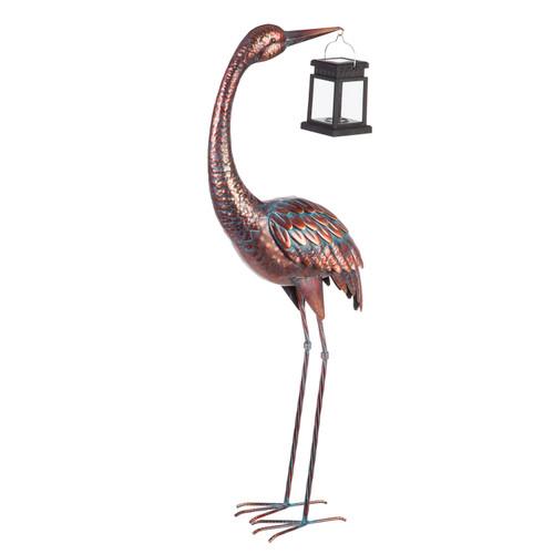 "33.5""H Decorative Metal Crane with Solar Lantern Garden Statuary By Evergreen"