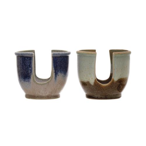 "4""  Stoneware Sponge Holder, Reactive Glaze,  by Creative Coop"