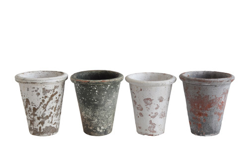 """5"""" Distressed Finish Clay Pots, 4 Colors,  by Creative Coop"""