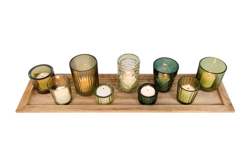 """22""""Wood Tray w/ 9 Green Glass Votive Holders by Creative Coop"""