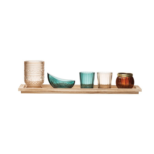 Paulownia Wood Tray w/ 5 Glass Votive/Tealight Holders by Creative Coop
