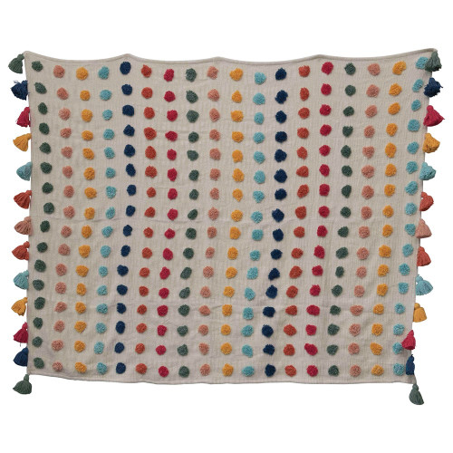 """60""""Woven Cotton Throw w/ Tufted Dots & Tassels, Multi Color by Creative Co-op"""