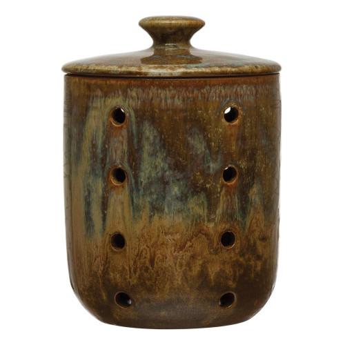 Stoneware Jar w/ Lid & Holes, Reactive Glaze, Blue & Brown (Each Varies)r by Creative Co-op