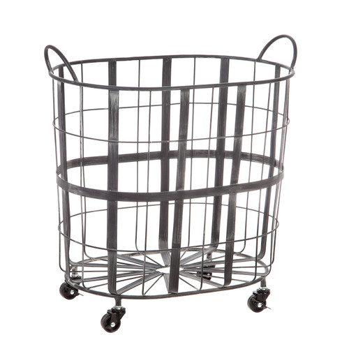 Metal Basket with Wheels by Evergreen