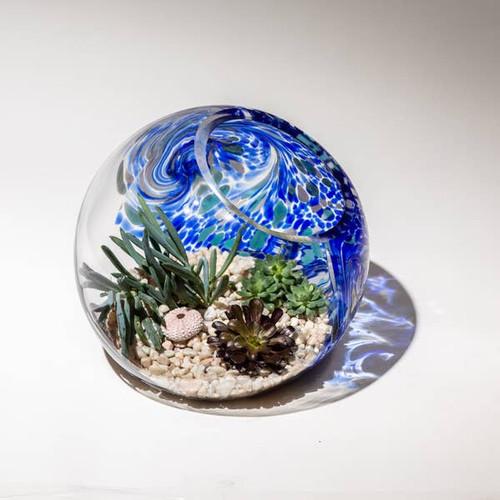 """7"""" Hand Blown Art Glass Terrarium - Blue"""