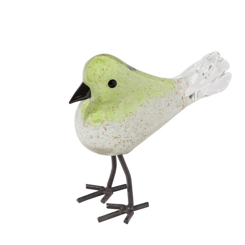 Art Glass Finches - Green