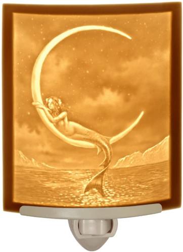 Mermaid and Moon Curved Night Light