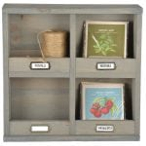 Small Wooden Shelf with Dividers