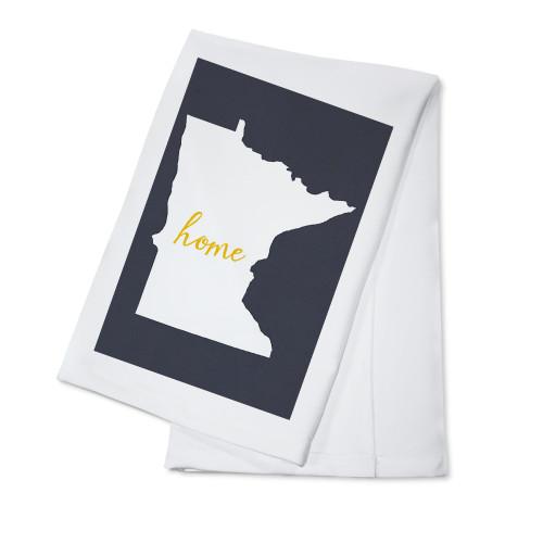 TOWEL Minnesota Home State White On Gray