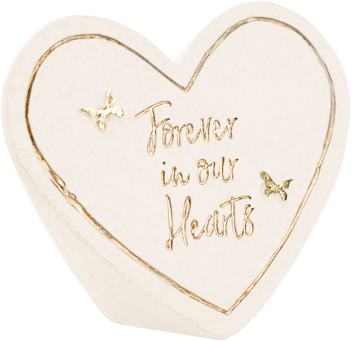 """3.5"""" x 3"""" Heart Memorial Stone - Forever in Our Hearts"""