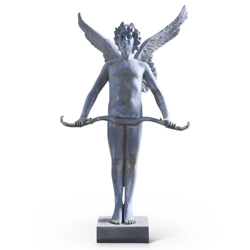 49 Inch Blue Gray Resin Angel w/Bow Across Waist