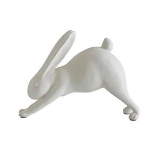 """7""""L Resin Downward Dog Yoga Rabbit, White"""