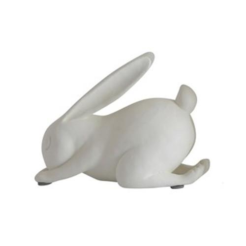 "5-1/4""L Resin Forward Bend Yoga Rabbit, White"