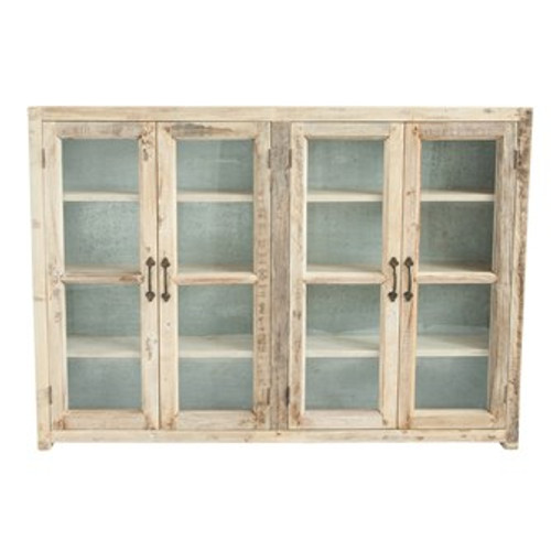 """Approximately 55""""L x 9""""D X 40""""H Reclaimed Wood w/ Metal Back Cabinet w/ 4 Glass Doors & 3 Shelves"""