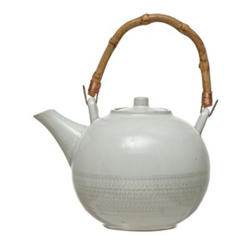 24 oz. Stoneware Textured Teapot w/ Bamboo Handle & Metal Strainer, White, Set of 2 (Each Varies)