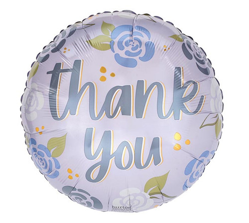 """17""""PKG THANK YOU ON BLUE WITH GRAY FLOWER BALLOON"""