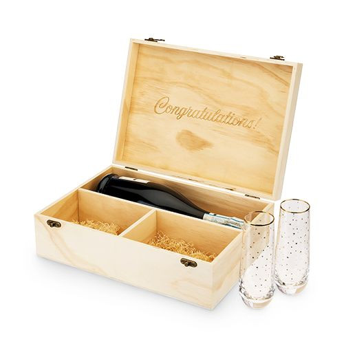 Celebrate Wood Champagne Box with Set of Flutes by Twine®
