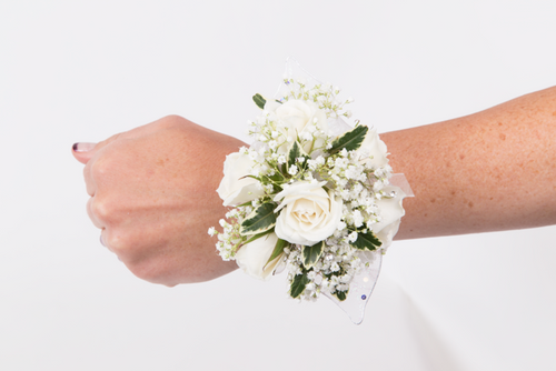 Custom Made -White Rose with Baby Breath  Wrist Corsage