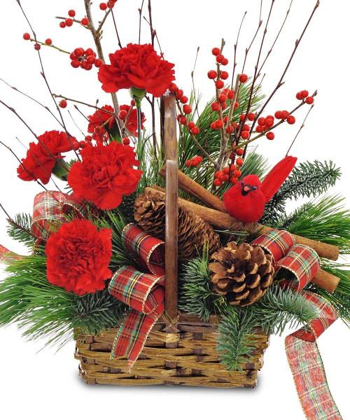Fresh Cinnamon & Cardinal Basket