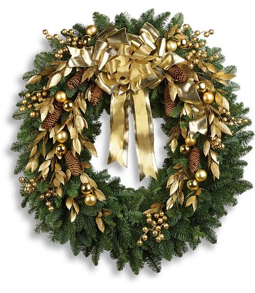 Glitter & Gold Fresh Evergreen Wreath