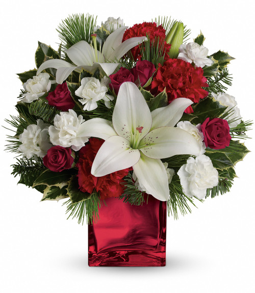 Caroling in the Snow Cube Bouquet