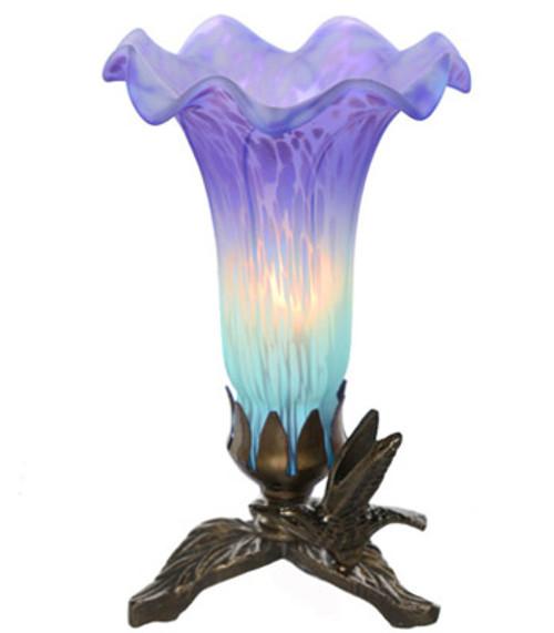 Handpainted Glass Lily Lamp w/ Hummingbird Base - Purple/Lt Blue- PRE-SALE ONLY