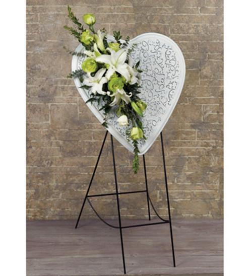 Metal Embossed Heart Easel With Fresh Flowers