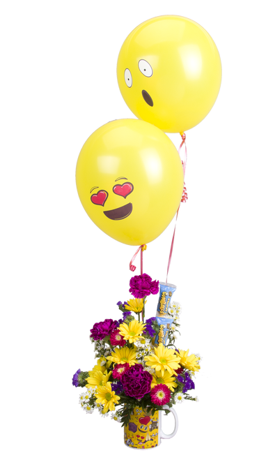 Soderberg's Exclusive Emoji Mug with Flowers and Balloons