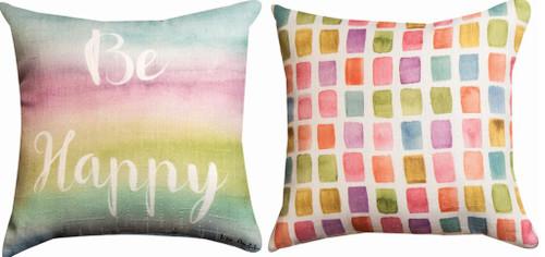 Be Happy Reversible Pillow