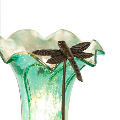 Handpainted Single Dragonfly Lily Lamp -Aqua Blue/White - PRE-SALE ONLY