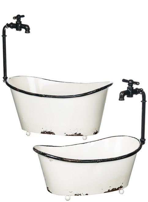Tub With Faucet Planter Set of 2