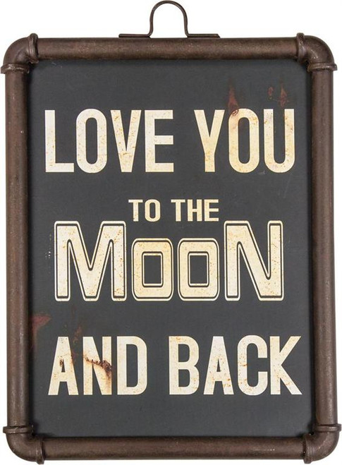 MOON & BACK PIPE METAL SIGN