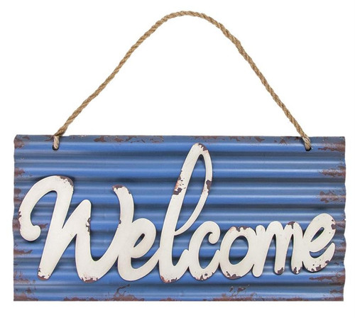 WELCOME CORRUGATED METAL SIGN