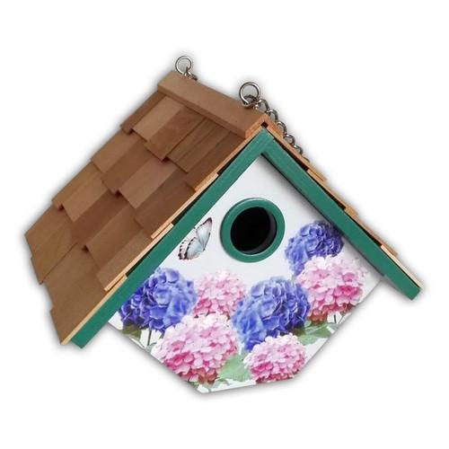 Printed Wren Hanging Birdhouse Hydrangea