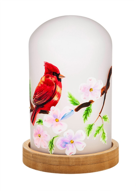 Cardinal LED Glass Cloche w/ Wooden Base