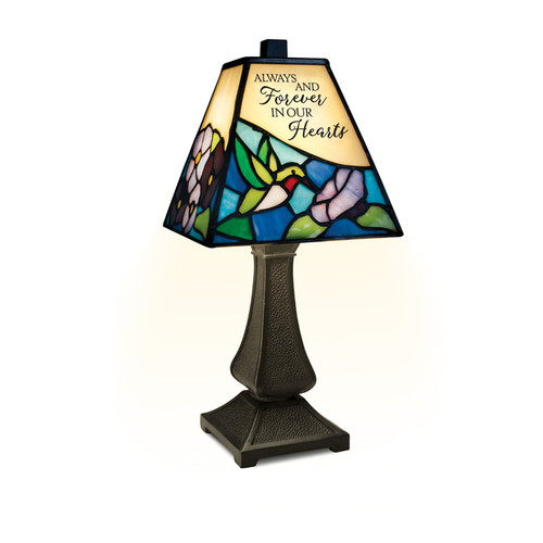 """""""Our Hearts"""" Stained Glass Memorial Lamp"""