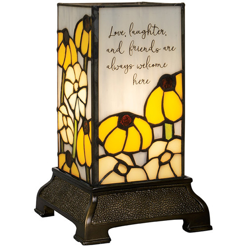 """""""Friends"""" 6"""" Stained Glass Memorial Lamp"""