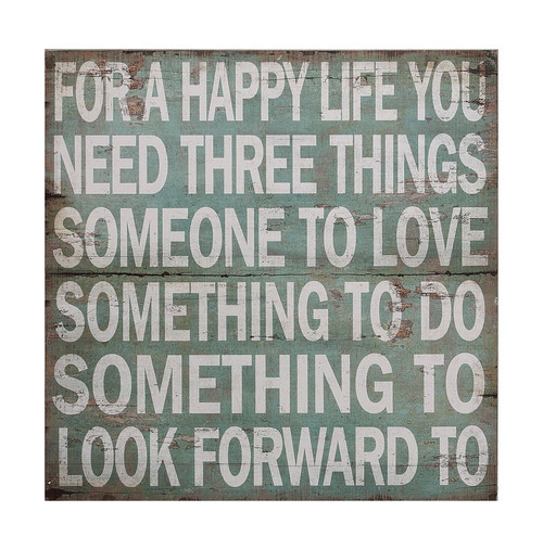"""For A Happy Life"" Wall Decor"