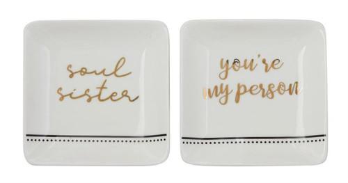 Square Stoneware Trinket Dish w/ Saying