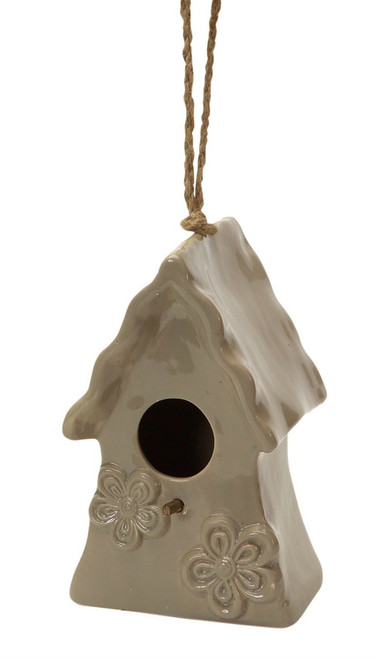 Ceramic Hanging Bird House, Tan