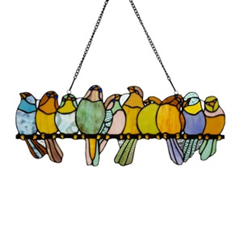 Birds on a Wire Stained Glass Window Panel
